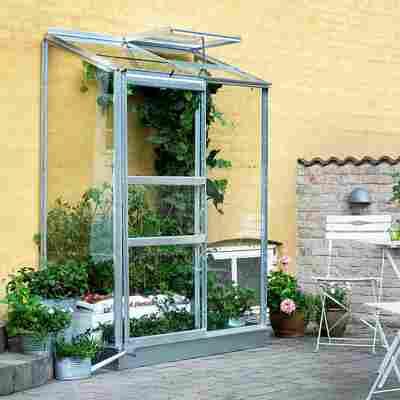 Anlehngewächshaus 'Altan 2' 0,91 m² Blankglas 3 mm Alu