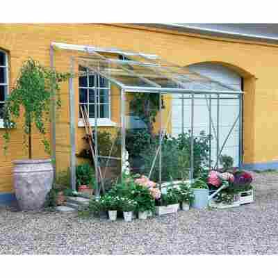 Anlehngewächshaus 'Royal 608' 4,85 m² Blankglas 3 mm Alu inkl. Fundament
