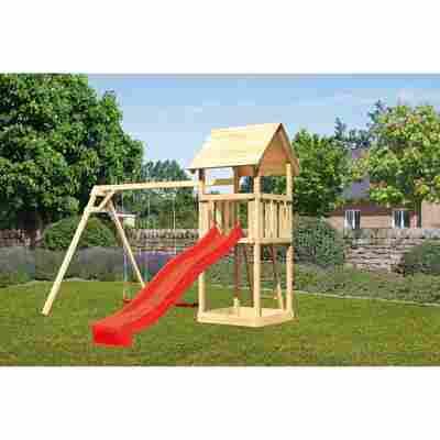 Kinderspielturm 'Lotti' Satteldach Doppelschaukel Rutsche rot