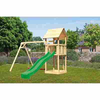 Kinderspielturm 'Lotti' Satteldach Doppelschaukel Rutsche grün