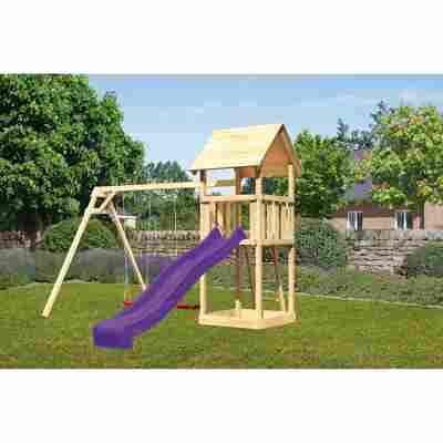 Kinderspielturm 'Lotti' Satteldach Doppelschaukel Rutsche violett