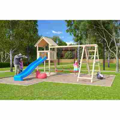 Kinderspielturm 'Lotti' Doppelschaukelanbau Klettergerüst Rutsche blau