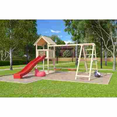 Kinderspielturm 'Lotti' Doppelschaukelanbau Klettergerüst Rutsche rot
