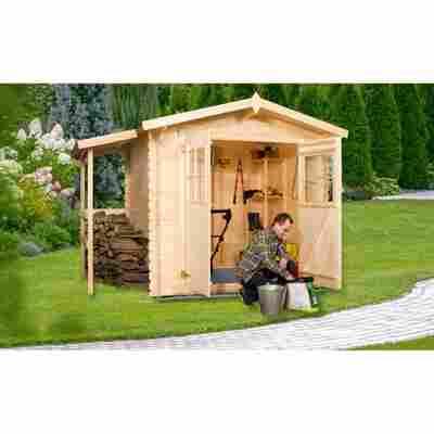 Gartenhaus mit Holzlager natur 200 x 200 cm