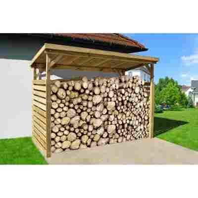 Brennholzlager mit Geräteraum naturfarben 310 x 204 x 130 cm