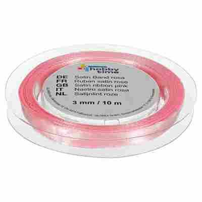 "Satinband ""hobby time"" Polyester rosa 1000 x 0,3 cm"