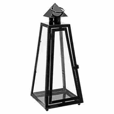 Laterne 'Pyramide' Metall schwarz 40 cm