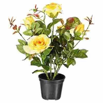 Kunstblume Rose gelb 34 cm