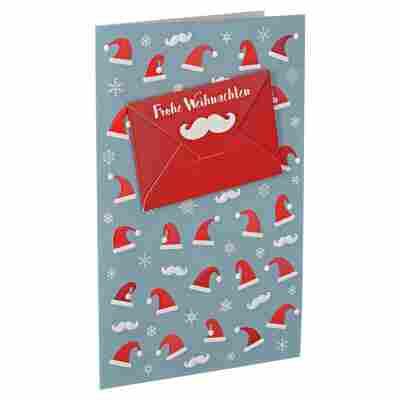 Weihnachtskarte 'Weihnachtsmützen' geprägt mit Umschlag