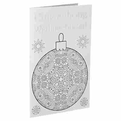 Weihnachtskarte 'Weihnachtskugel zum Ausmalen' weiß mit Umschlag
