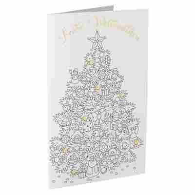 Weihnachtskarte 'Weihnachtsbaum zum Ausmalen' weiß mit Umschlag