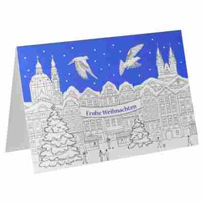 Weihnachtskarte 'Weihnachtsmarkt zum Ausmalen' weiß/blau mit Umschlag