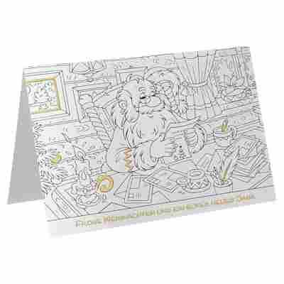 Weihnachtskarte 'Wunschzettel zum Ausmalen' weiß mit Umschlag