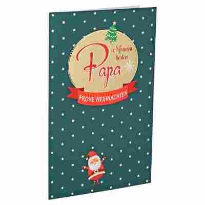 Weihnachtskarte 'Papa' grün mit Umschlag
