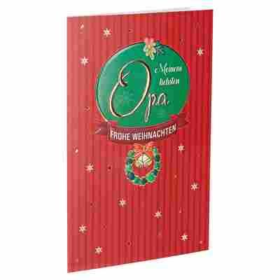 Weihnachtskarte 'Opa' rot mit Umschlag