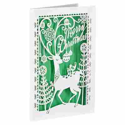 Lasercut-Weihnachtskarte 'Hirsch' grün mit Umschlag