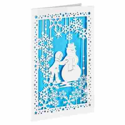 Lasercut-Weihnachtskarte 'Schneemann' blau mit Umschlag