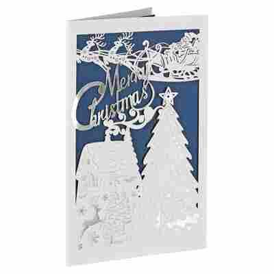 Lasercut-Weihnachtskarte 'Tannen' blau mit Umschlag