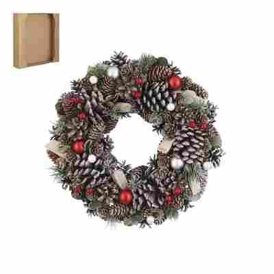 Weihnachtskranz mit roten Kugeln Ø 34 cm