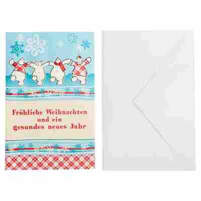 Weihnachtskarte blau/rot mit Umschlag