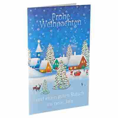 Weihnachtskarte 'Frohe Weihnachten' mehrfarbig mit Umschlag