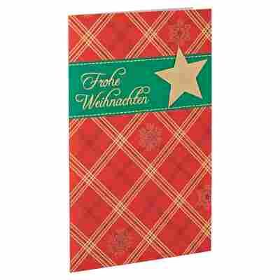 Weihnachtskarte 'Karo' rot mit Umschlag
