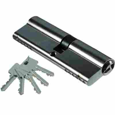 Türzylinder Stahl 40 x 40 mm, inklusive 5 Schlüssel