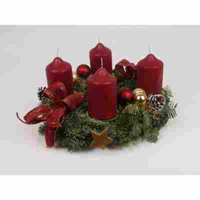 Adventskranz altrot Ø 30 cm, mit vier Kerzen