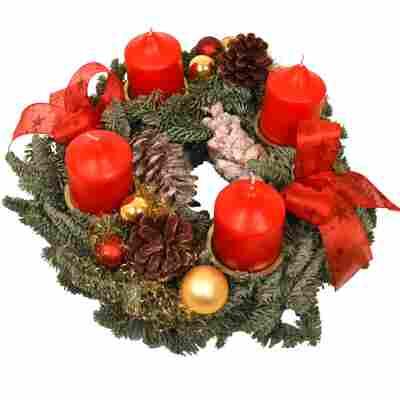 Adventskranz mit 4 roten Kerzen Ø 30 cm