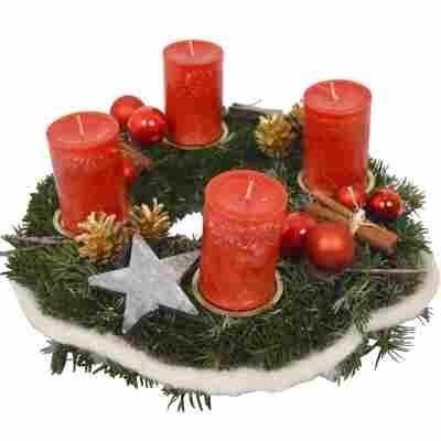 Adventskranz mit Kugeln, Zapfen und 4 roten Rustik-Kerzen Ø 35 cm