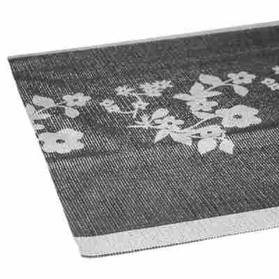 Tischläufer Ranken rechteckig anthrazit/silbern 150 x 40 cm
