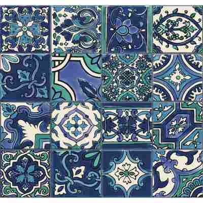 Wandbelag 'Ceramics Riasan' 0,675 x 20 m blau