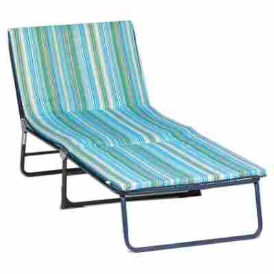 Gartenliege 'Fiesta Comfort' blau/grün 190 x 68 x 30 cm