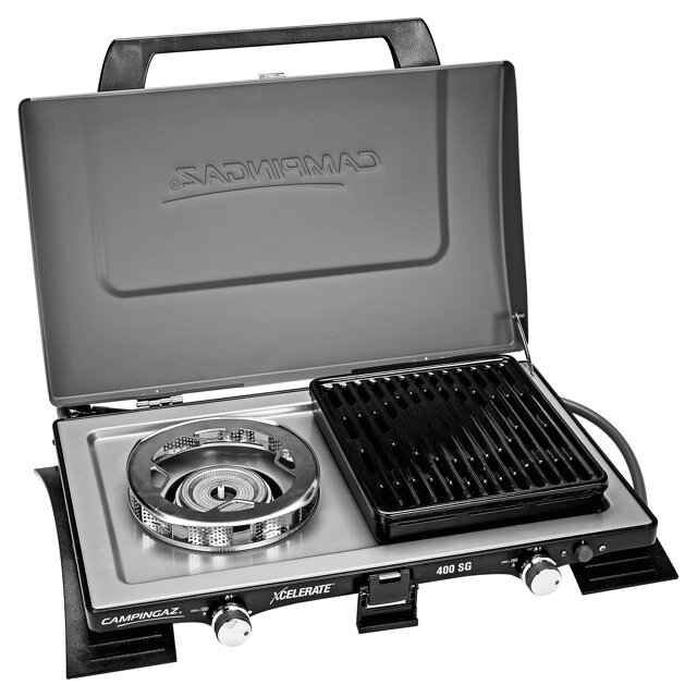 camping gaz 400 sg kocher mit grillplatte mit xcelerate brenner toom baumarkt. Black Bedroom Furniture Sets. Home Design Ideas