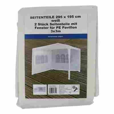 Seitenteile für Gartenpavillon weiß 295 x 195 cm 2 Stück