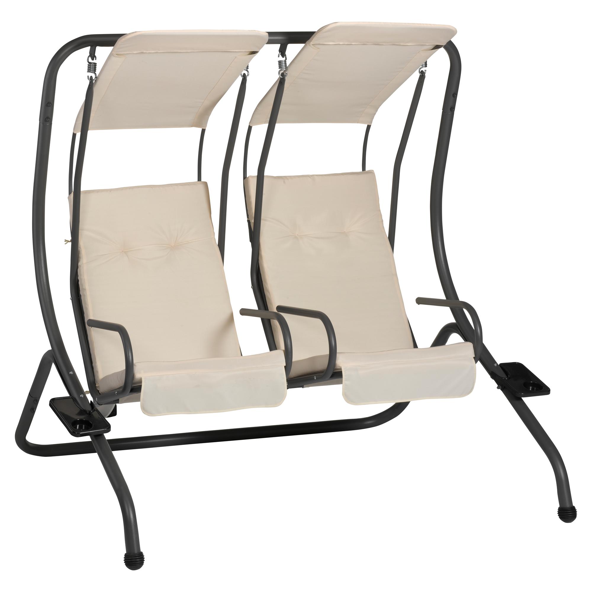 hollywoodschaukel twin 2 sitzer schwarz beige toom baumarkt. Black Bedroom Furniture Sets. Home Design Ideas