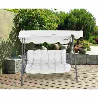 Hollywoodschaukel 'Silke' 3-Sitzer inkl. Kissen weiß/beige