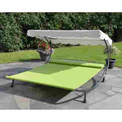 Gartendoppelliege mit Dach, grün/beige 200 x 200 x 110 cm