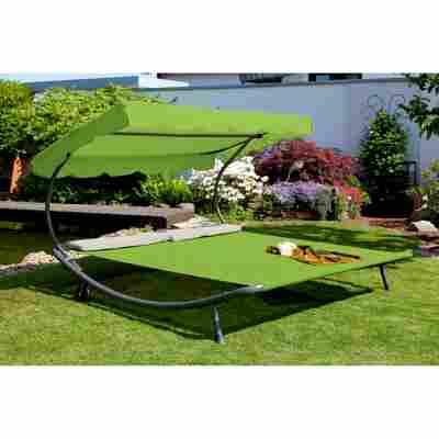 Gartendoppelliege mit Dach grün/grau 200 x 200 x 110 cm