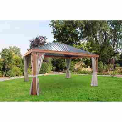 Luxus-Hardtoppavillon, Holzoptik 365 x 425 x 296 cm