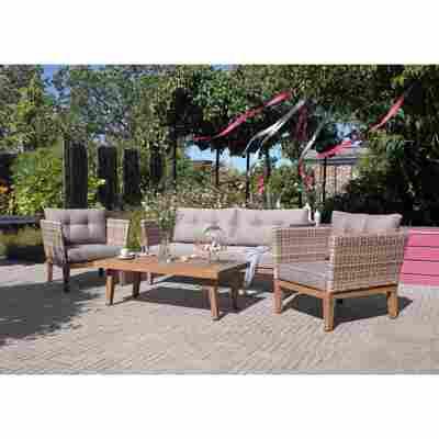 Lounge-Set 'Dina' braun/grau 4-teilig