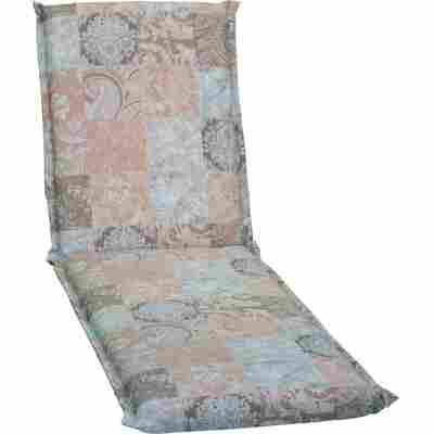 Rollliegen-Auflage 'Agatti' braun/hellblau 195 x 62 x 7 cm