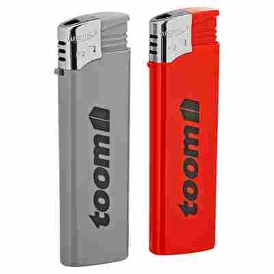 Feuerzeuge grau/rot 2 Stück