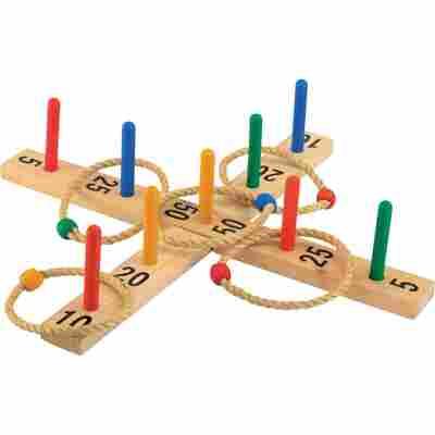 Ringwurfspiel aus Holz mit 9 Stäben
