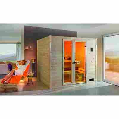 Massivholzsauna 'Valida 4' 239 x 189 cm mit Glastür, Fenster
