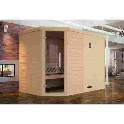 Design-Sauna 'Kemi' 245 x 195 cm mit Glastür