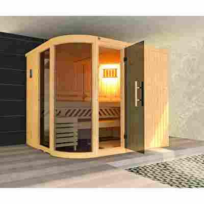Elementsauna 'Sauna des Jahres' 244 x 194 cm mit Ofen 'Bios', Glastür, Fenster