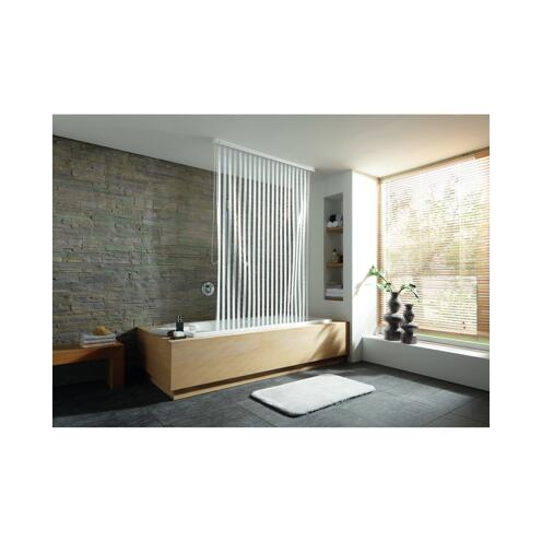 Duschrollo Streifen weiß 128 x 240 cm