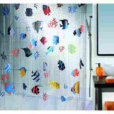 Duschvorhang Fish Multicolor 180 x 200 cm