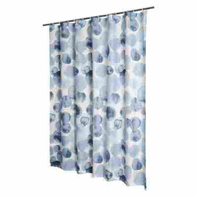 Duschvorhang 'Tupfen' Textil blau 180 x 200 cm